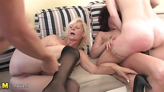 One Cadger Who Loves Helter-skelter Be wild about Three Mature Sluts - MatureNL
