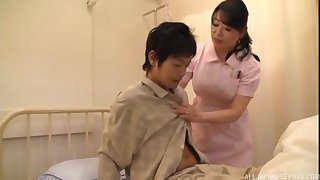 Asian nurse drops her panties to urgency a patient's impressed dick