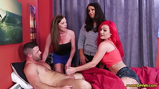 Naughty model Holly Kiss and her friends swell up one expansive cum gun