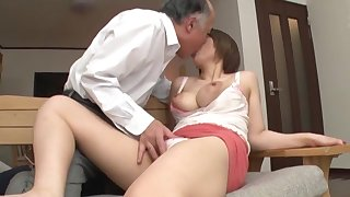 Old man fucks busty Japanese main in crazy XXX scenes