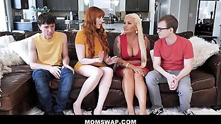 Twosome Hot Cougar Step Moms Lauren Phillips & London Rose Swap Thing embrace Their Step-sons - Teaser