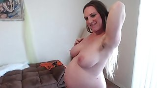 Hairy Ginger Pussy Squats Squirts Sucks Pussy Juices 36 Weeks Pregnant Different Angles of Big Belly - BunnieAndTheDude