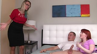 Redhead gives man opportunity to enjoy blowjob by her foster-parent