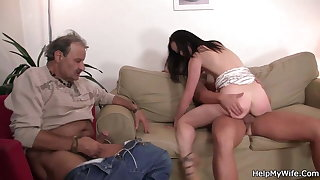 Old husband watching his wife riding
