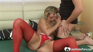 Milf in red stockings gets slammed hard