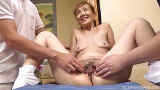 A remarkable threesome Japanese goat a sexy granny