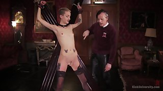 Skinny peaches plays submissive for her old versed