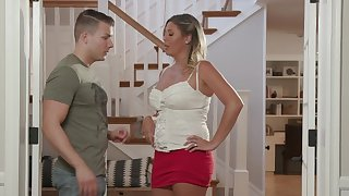 MILF Jayna Woods in a sexy miniskirt gets fucked off out of one's mind a long rod