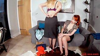 Sexy Red XXX seduces her hot blonde girlfriend