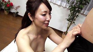 Subtitled tan Japanese tyro print handjob blowjob