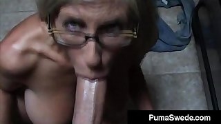 Euro Porn Repute Puma Swede Gets Bleary Glasses After Blow Job!