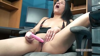 Tiny Indian housewife Naomi Akund of Swat is in the office and using a toy on high will not hear of tight twat